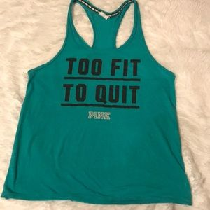 PINK, Turquoise too fit to quit tank, Small